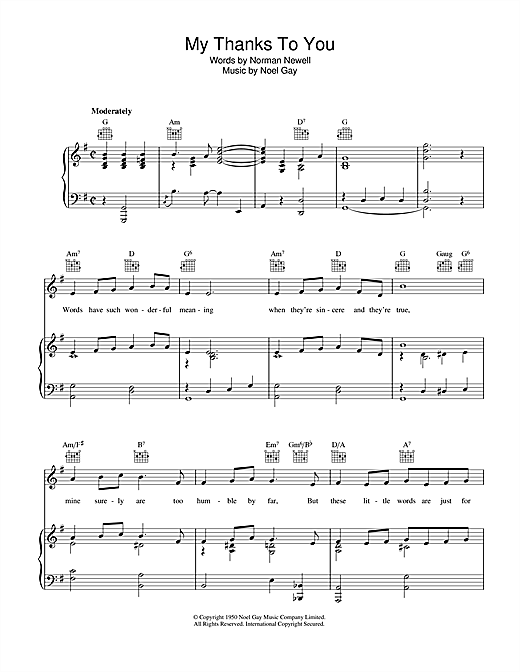 Noel Gay My Thanks To You sheet music notes and chords. Download Printable PDF.
