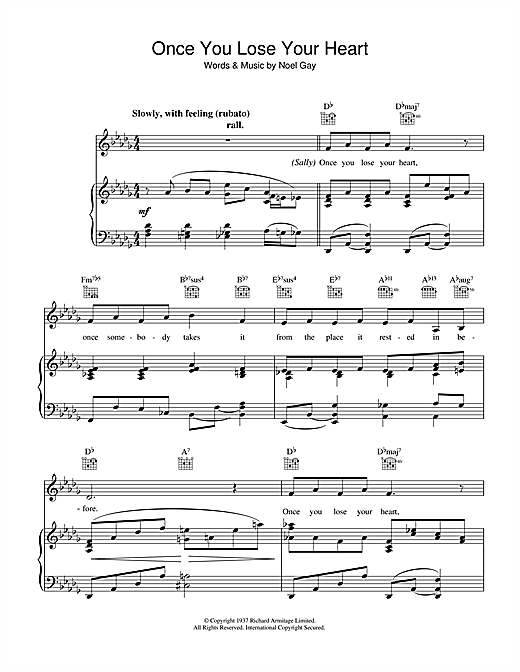 Noel Gay Once You Lose Your Heart (from Me And My Girl) sheet music notes and chords. Download Printable PDF.