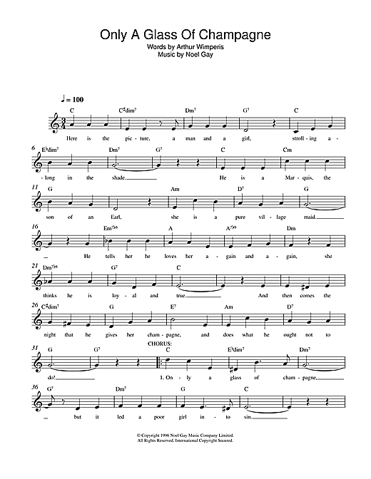 Noel Gay Only A Glass Of Champagne sheet music notes and chords. Download Printable PDF.