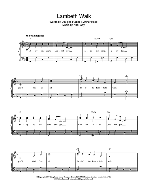 Noel Gay The Lambeth Walk sheet music notes and chords. Download Printable PDF.