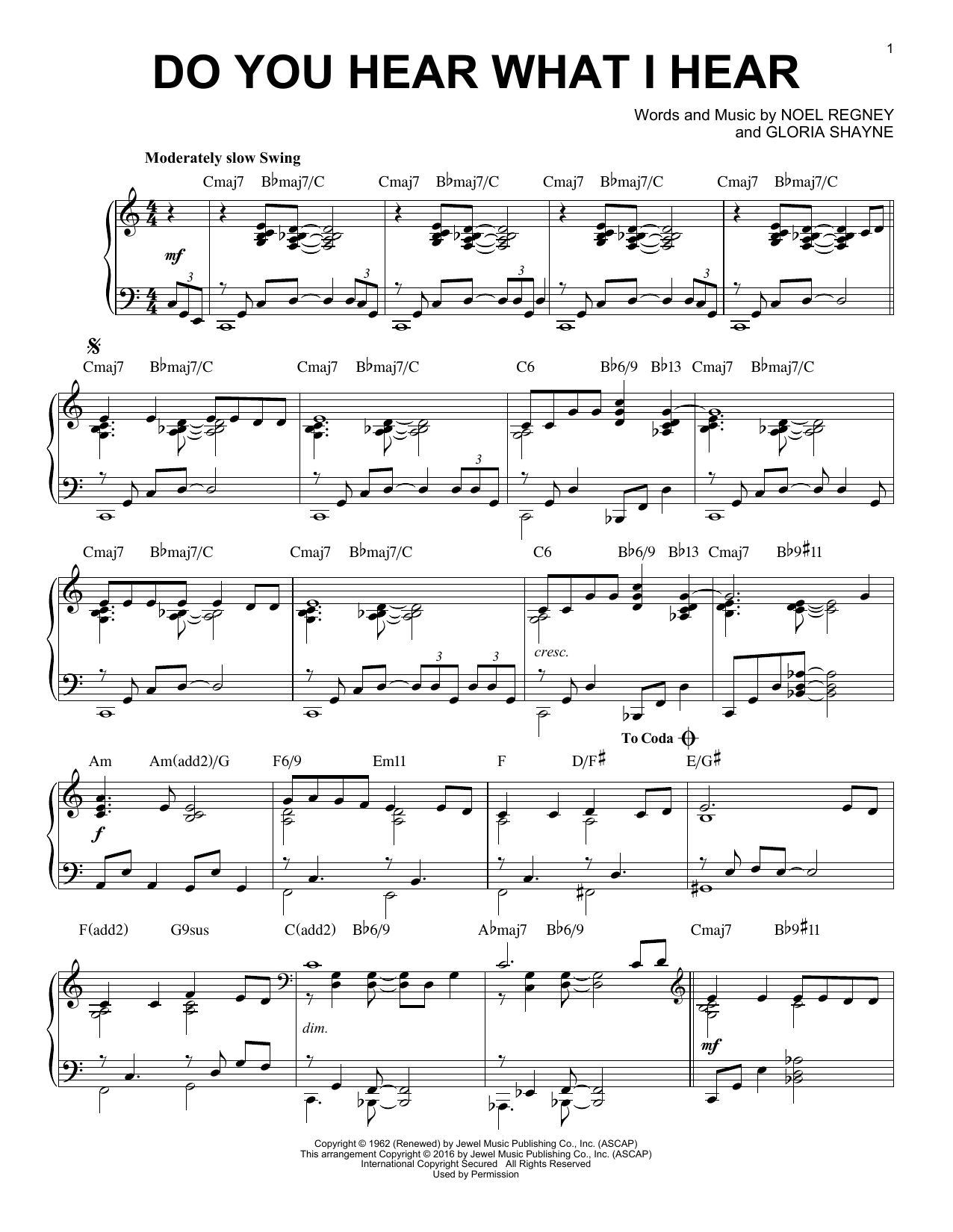 Noel Regney Do You Hear What I Hear [Jazz version] (arr. Brent Edstrom) sheet music notes and chords. Download Printable PDF.
