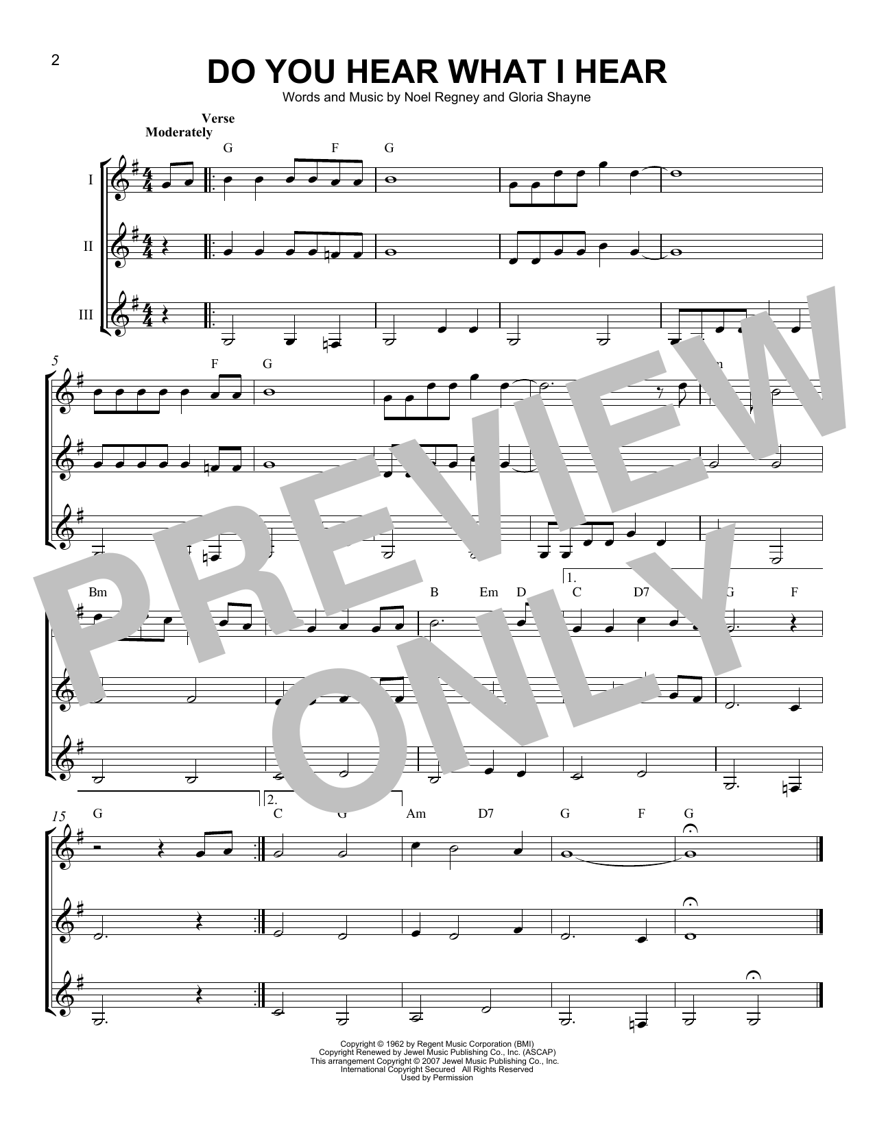 Noel Regney & Gloria Shayne Do You Hear What I Hear sheet music notes and chords