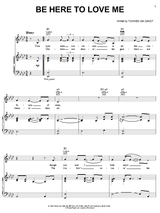 Norah Jones Be Here To Love Me sheet music notes and chords. Download Printable PDF.