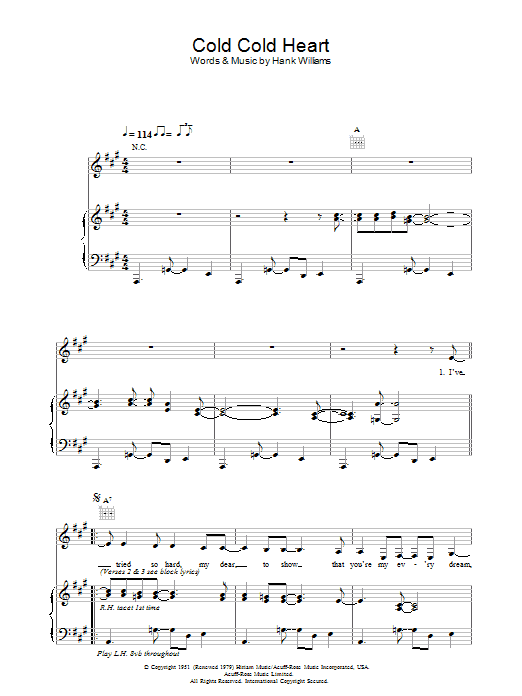 Norah Jones Cold, Cold Heart sheet music notes and chords. Download Printable PDF.