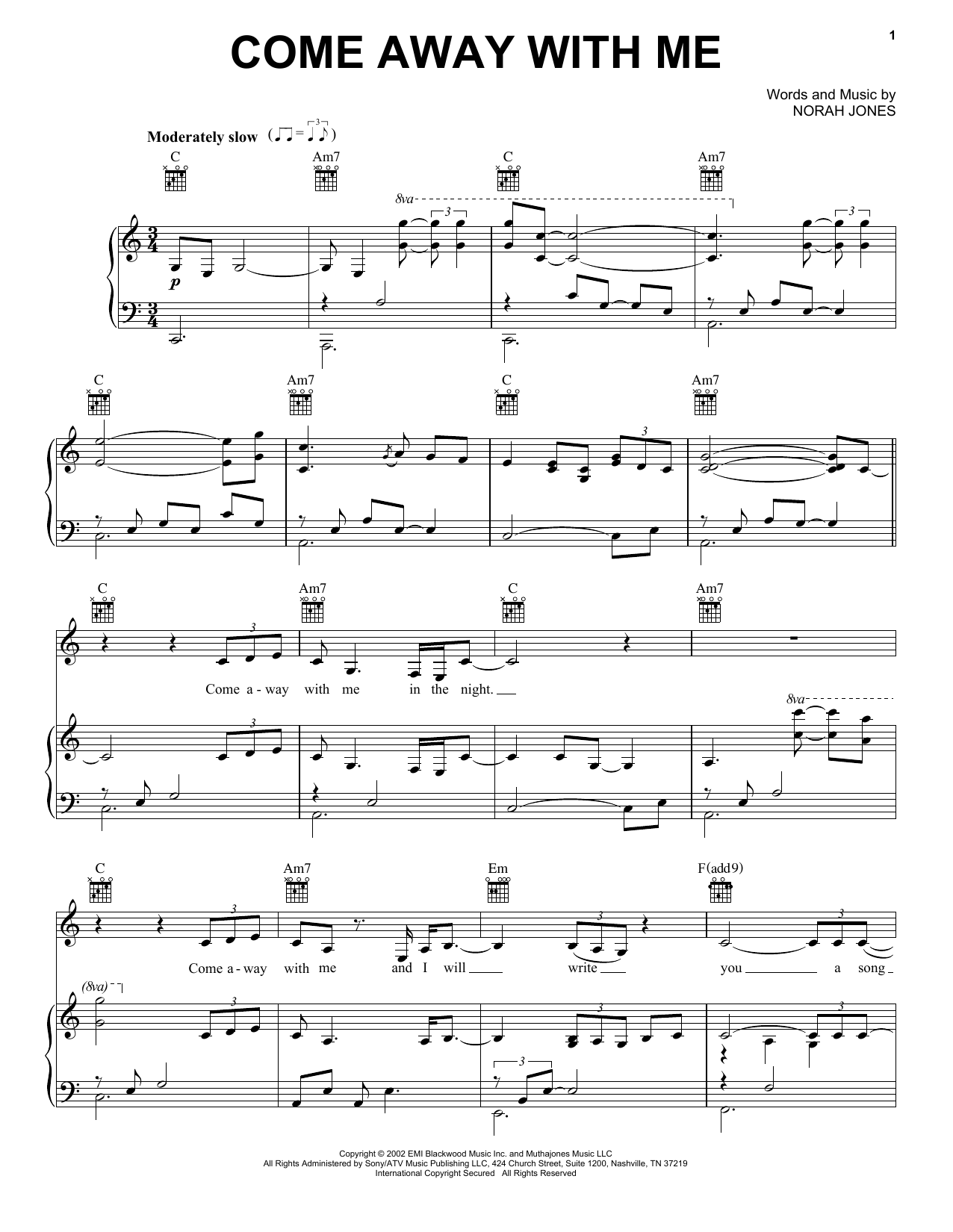 Norah Jones Come Away With Me sheet music notes and chords