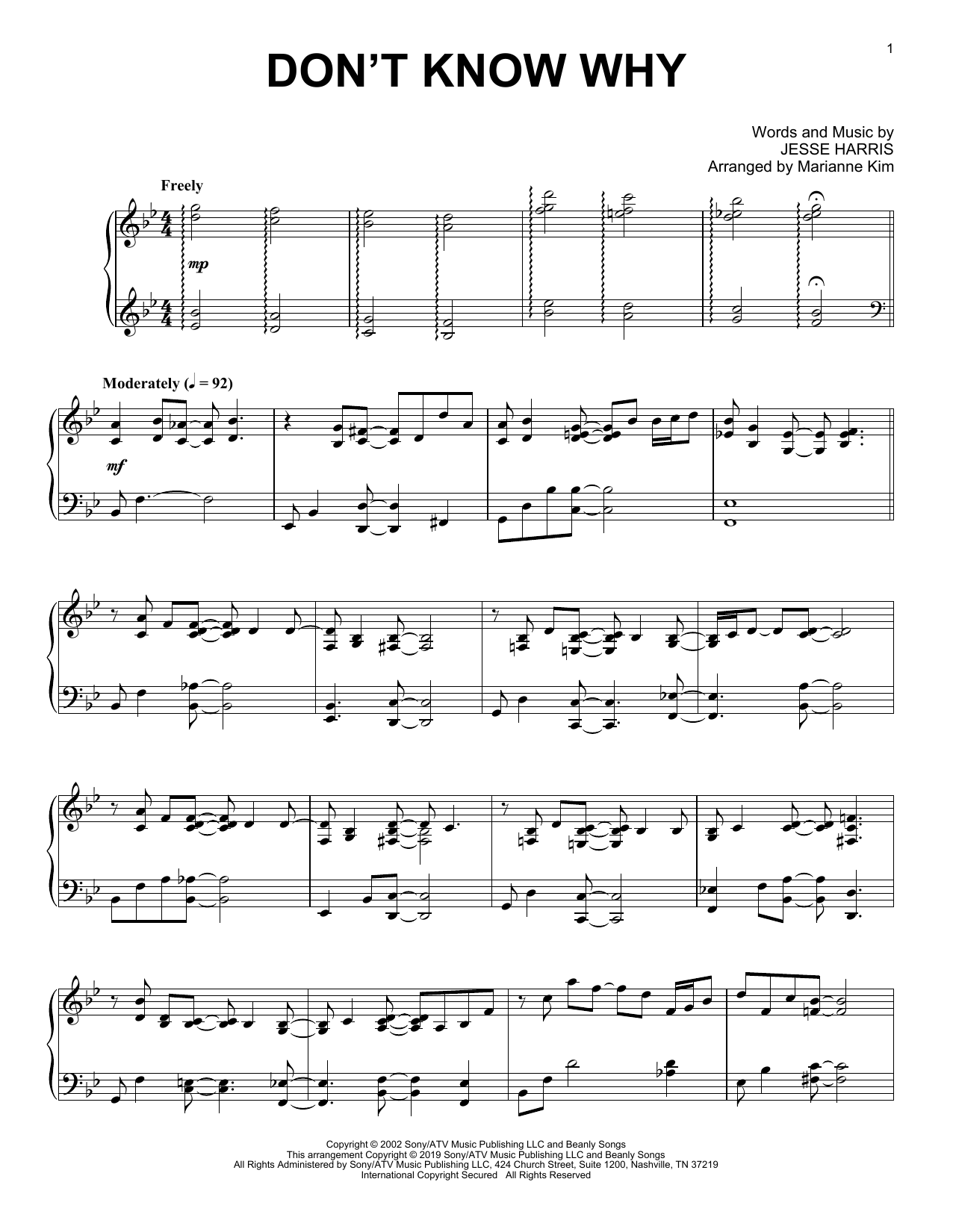 Norah Jones Don't Know Why (arr. Marianne Kim) sheet music notes and chords. Download Printable PDF.