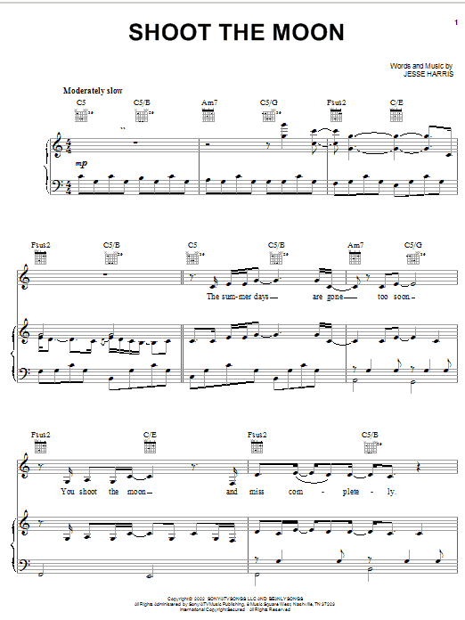 Norah Jones Shoot The Moon sheet music notes and chords. Download Printable PDF.