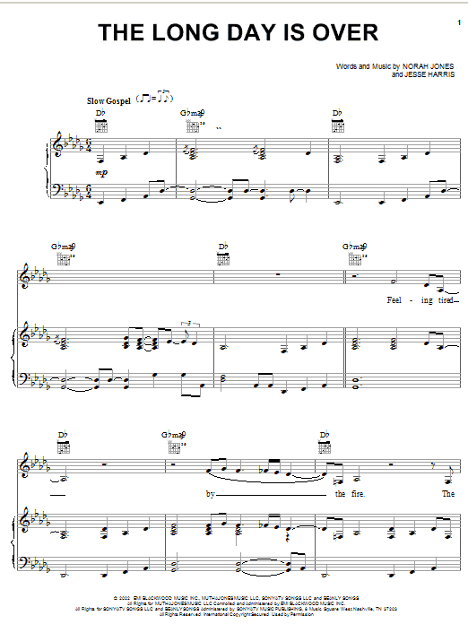 Norah Jones The Long Day Is Over sheet music notes and chords. Download Printable PDF.