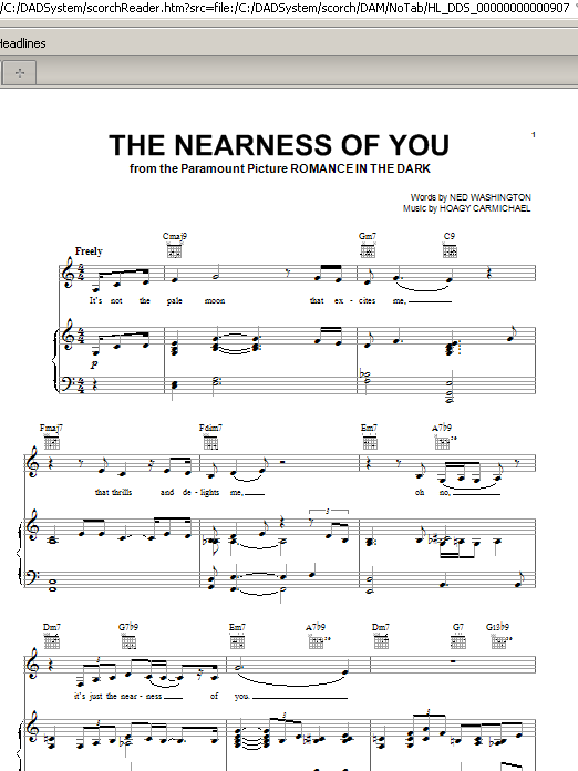 Norah Jones The Nearness Of You sheet music notes and chords. Download Printable PDF.