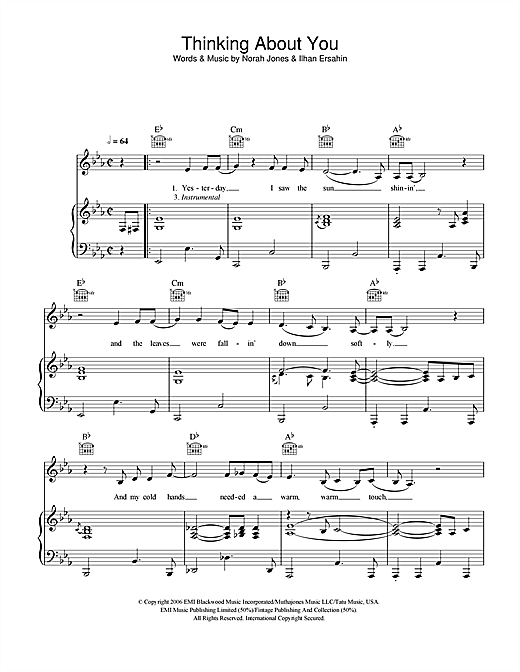 Norah Jones Thinking About You sheet music notes and chords