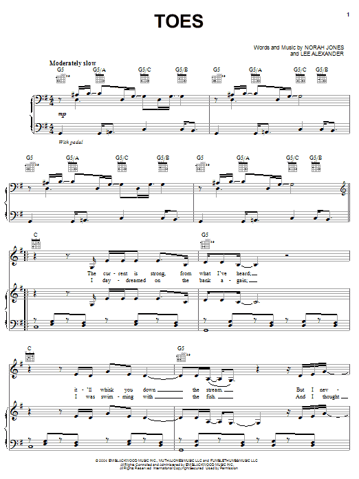 Norah Jones Toes sheet music notes and chords. Download Printable PDF.