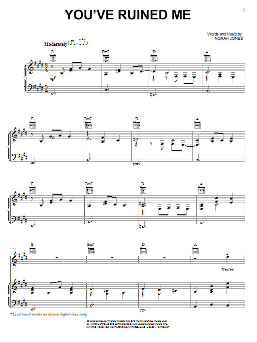 Norah Jones You've Ruined Me sheet music notes and chords