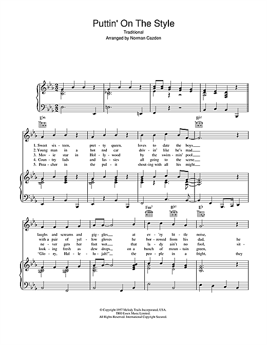 Norman Cazden Puttin' On The Style sheet music notes and chords. Download Printable PDF.