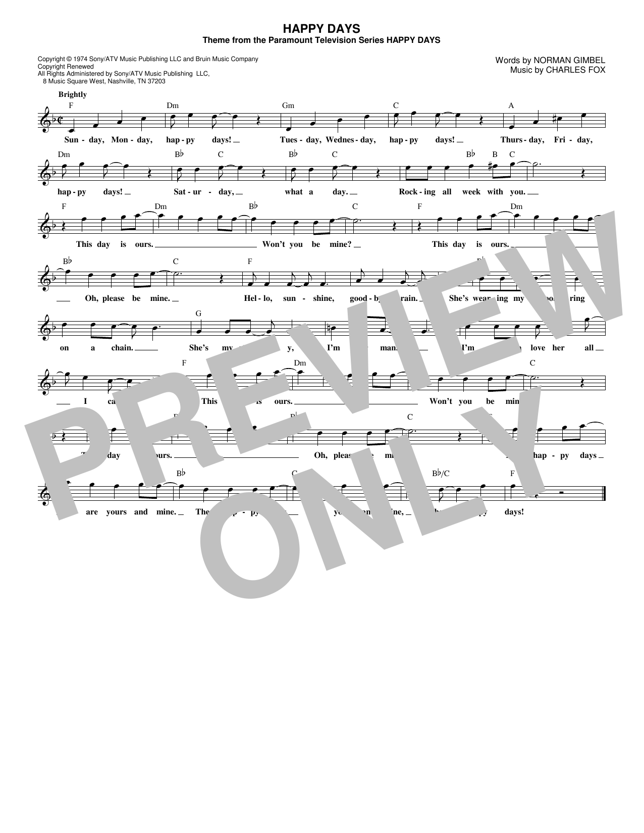 Norman Gimbel Happy Days sheet music notes and chords. Download Printable PDF.