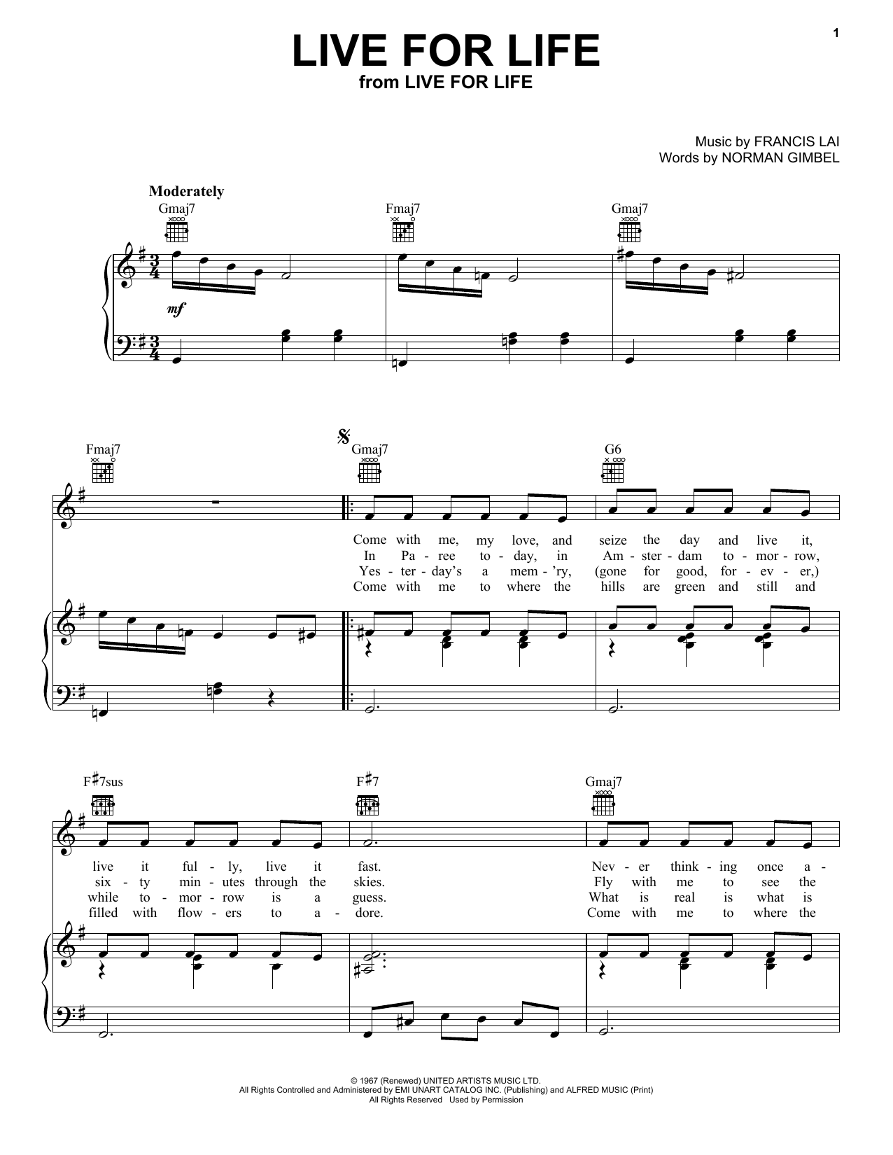 Norman Gimbel Live For Life sheet music notes and chords. Download Printable PDF.