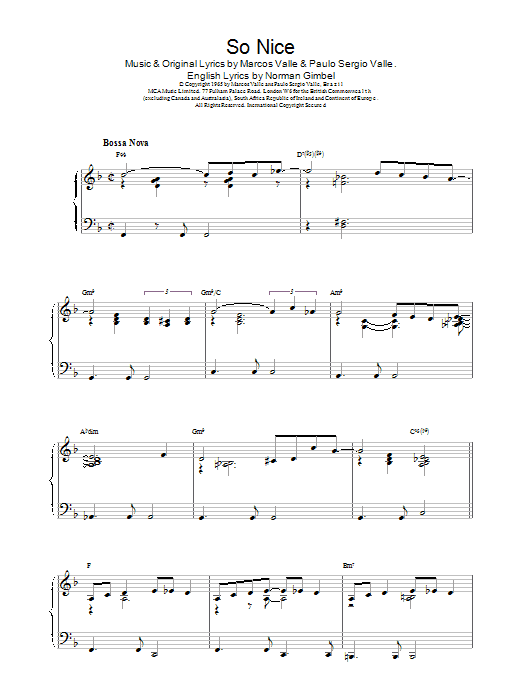 Johnny Mercer So Nice sheet music notes and chords. Download Printable PDF.