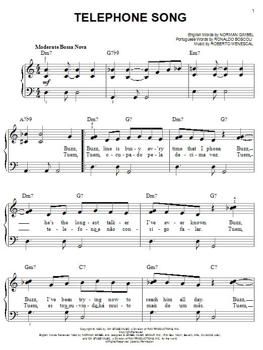 Norman Gimbel Telephone Song sheet music notes and chords. Download Printable PDF.