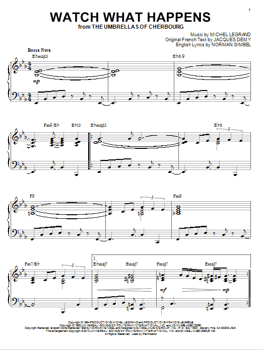 Norman Gimbel Watch What Happens [Jazz version] (arr. Brent Edstrom) sheet music notes and chords. Download Printable PDF.