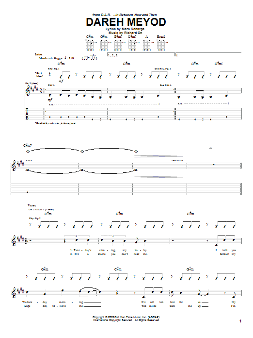 O.A.R. Dareh Meyod sheet music notes and chords. Download Printable PDF.