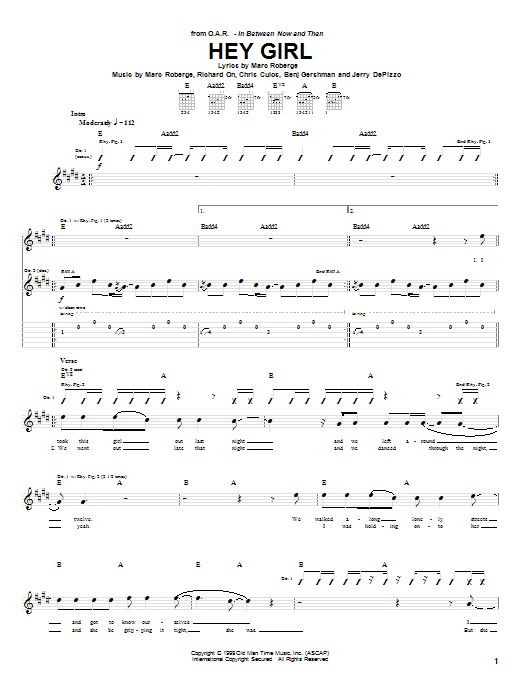 O.A.R. Hey Girl sheet music notes and chords. Download Printable PDF.