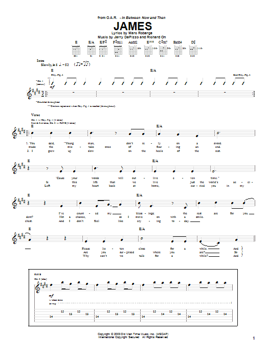 O.A.R. James sheet music notes and chords. Download Printable PDF.
