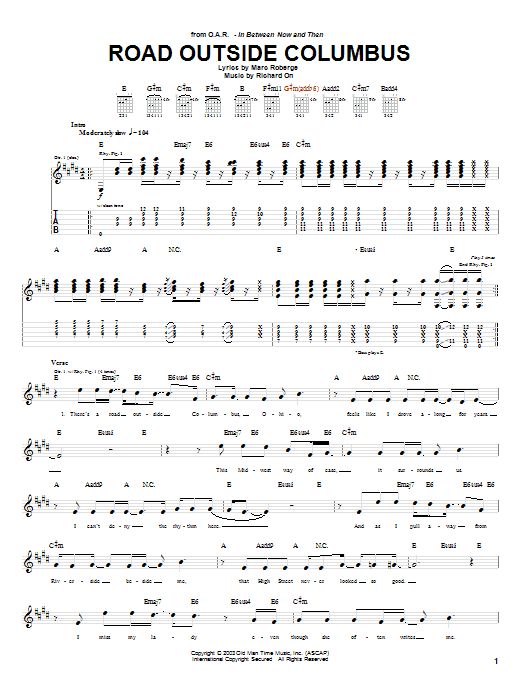 O.A.R. Road Outside Columbus sheet music notes and chords. Download Printable PDF.