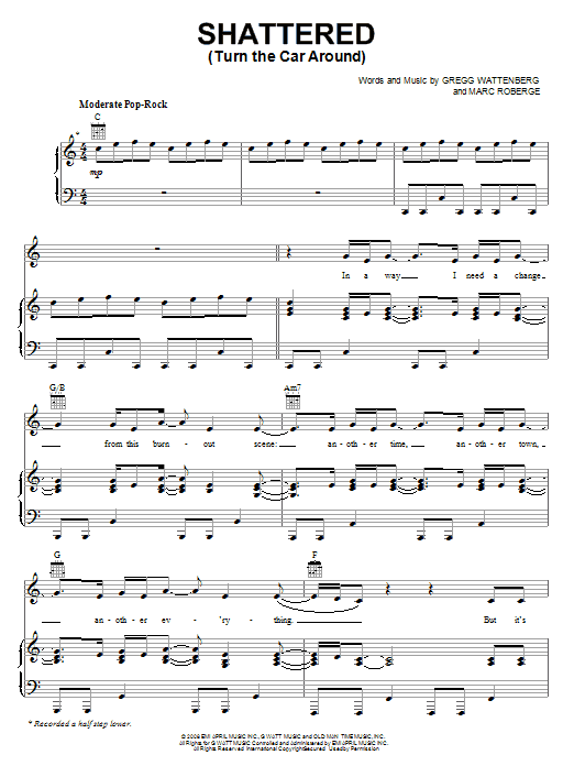 O.A.R. Shattered (Turn The Car Around) sheet music notes and chords. Download Printable PDF.