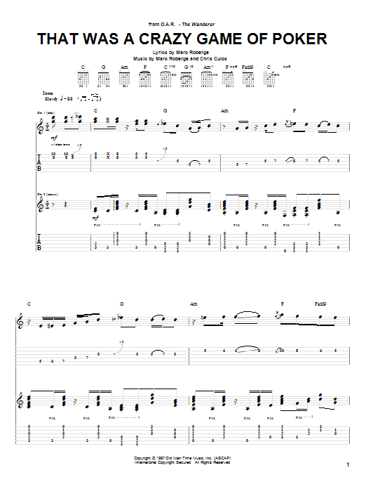 O.A.R. That Was A Crazy Game Of Poker sheet music notes and chords. Download Printable PDF.