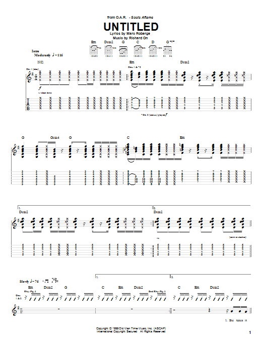 O.A.R. Untitled sheet music notes and chords. Download Printable PDF.