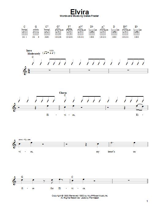Oak Ridge Boys Elvira sheet music notes and chords. Download Printable PDF.