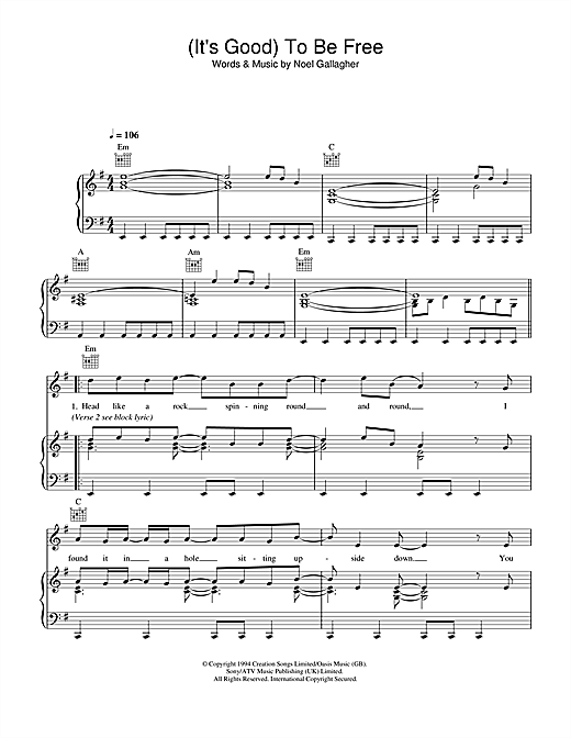 Oasis (It's Good) To Be Free sheet music notes and chords. Download Printable PDF.