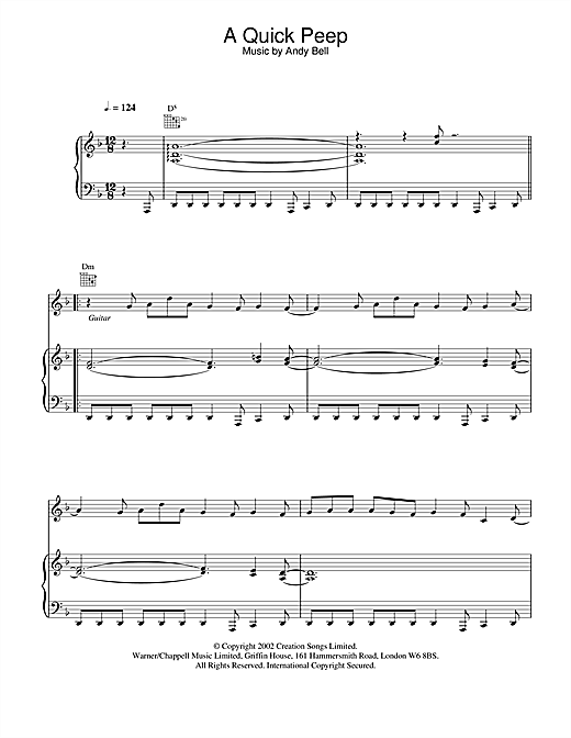 Oasis A Quick Peep sheet music notes and chords. Download Printable PDF.