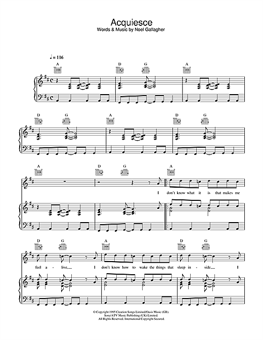 Oasis Acquiesce sheet music notes and chords. Download Printable PDF.