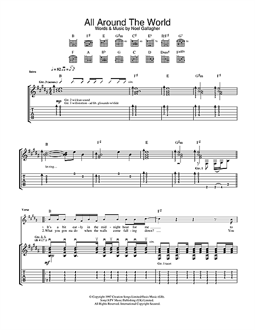 Oasis All Around The World sheet music notes and chords. Download Printable PDF.