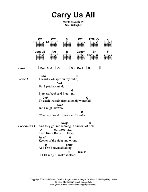 Oasis Carry Us All sheet music notes and chords