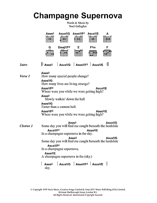 Oasis Champagne Supernova sheet music notes and chords. Download Printable PDF.
