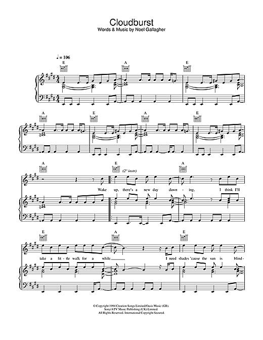 Oasis Cloudburst sheet music notes and chords. Download Printable PDF.