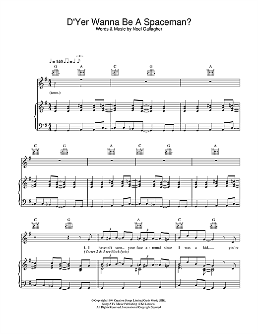 Oasis D'Yer Wanna Be A Spaceman? sheet music notes and chords