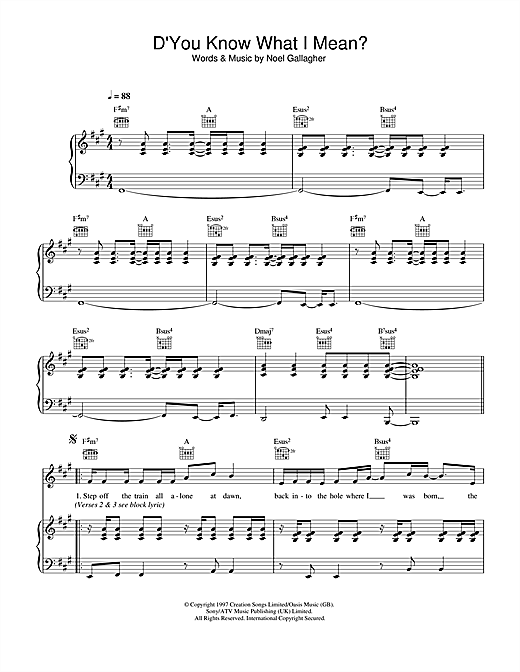 Oasis D'You Know What I Mean? sheet music notes and chords. Download Printable PDF.
