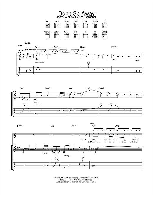 Oasis Don't Go Away sheet music notes and chords