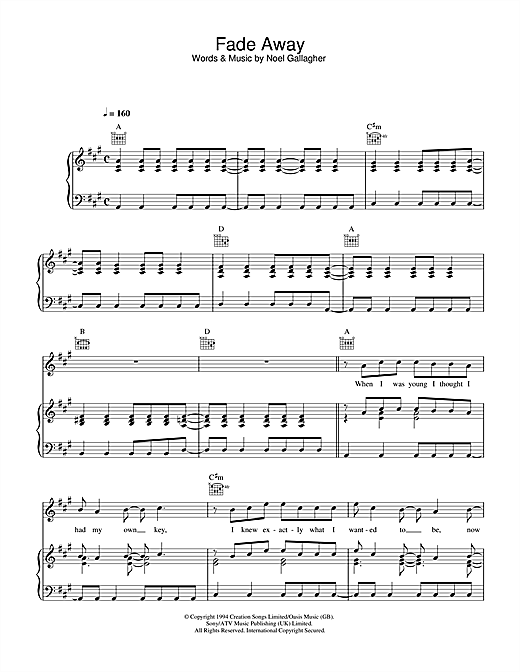 Oasis Fade Away sheet music notes and chords. Download Printable PDF.