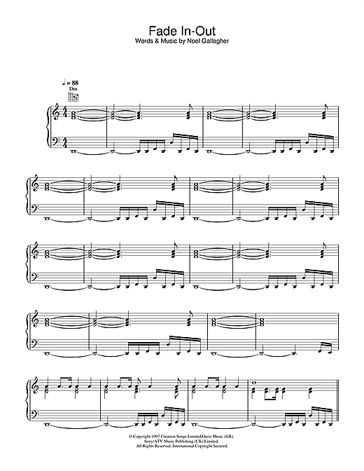 Oasis Fade In-Out sheet music notes and chords. Download Printable PDF.