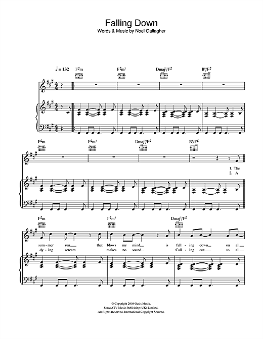 Oasis Falling Down sheet music notes and chords. Download Printable PDF.
