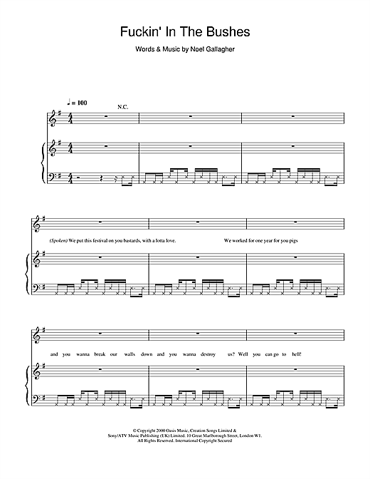 Oasis Fuckin' In The Bushes sheet music notes and chords. Download Printable PDF.