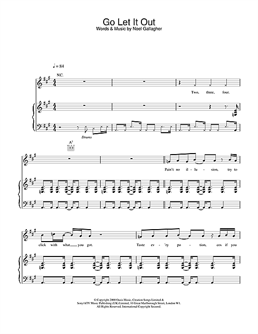 Oasis Go Let It Out sheet music notes and chords