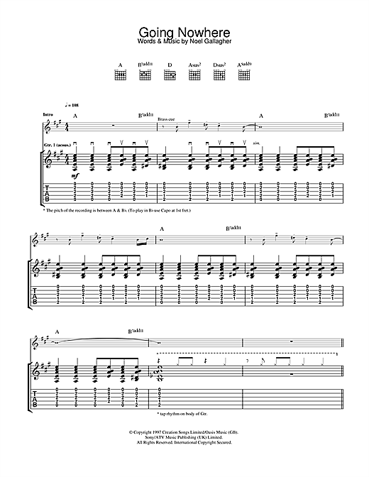 Oasis Going Nowhere sheet music notes and chords. Download Printable PDF.