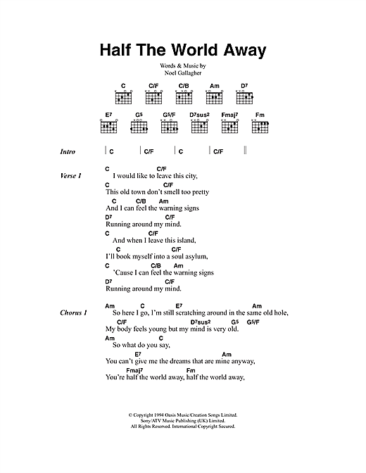 Oasis Half The World Away sheet music notes and chords