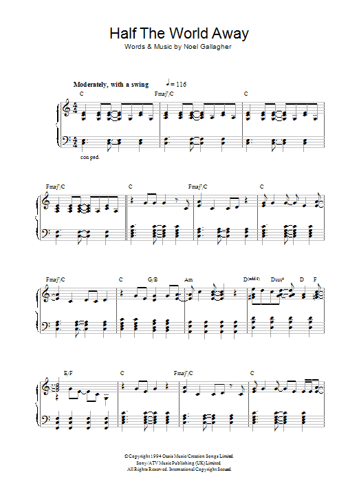 Oasis Half The World Away sheet music notes and chords. Download Printable PDF.