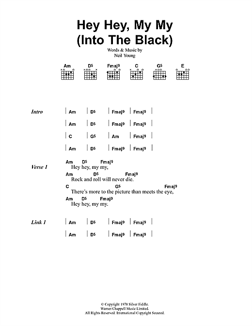 Oasis Hey Hey, My My (Into The Black) sheet music notes and chords