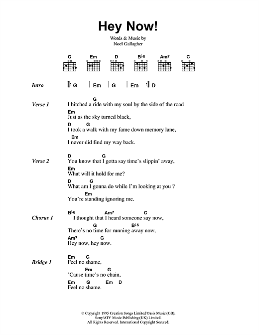 Oasis Hey Now sheet music notes and chords. Download Printable PDF.
